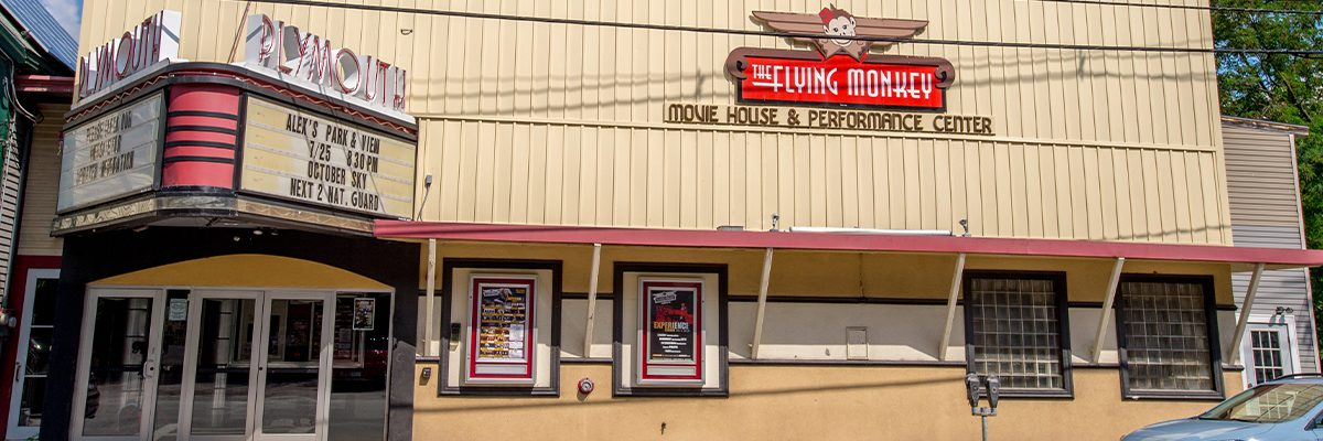 exterior of flying monkey building with marquis